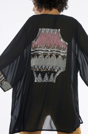 Kimono Gasa Bordado Lentejuelas