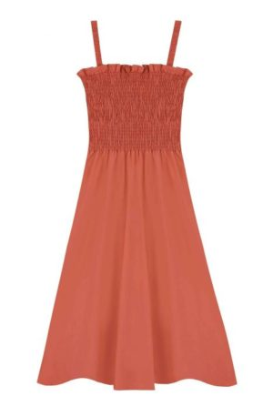 Vestido Midi Naranja Tirantes