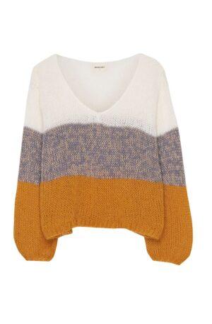 Sueter lana tricolor cuello pico